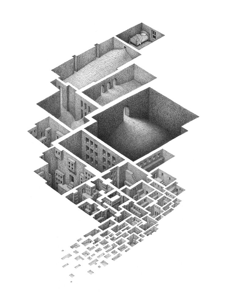 Incredibly detailed drawings of interconnected rooms that seem to grow in complexity like fractals. See more of Mathew Borrett's work on Colossal. http://www.thisiscolossal.com/2014/03/room-series-mathew-borrett/