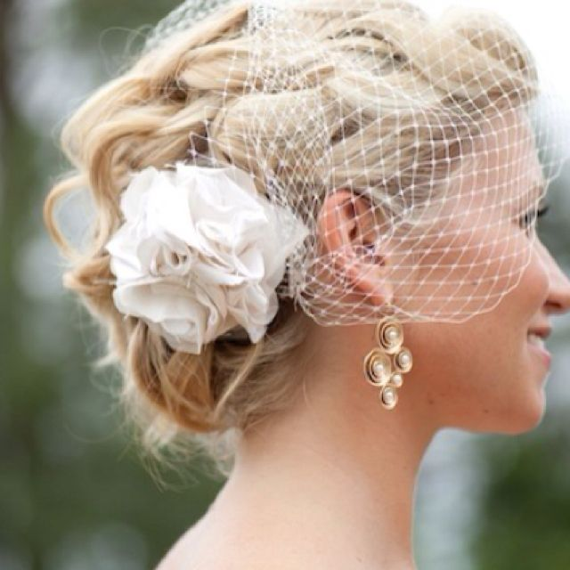 Loose romantic hair with birdcage veil
