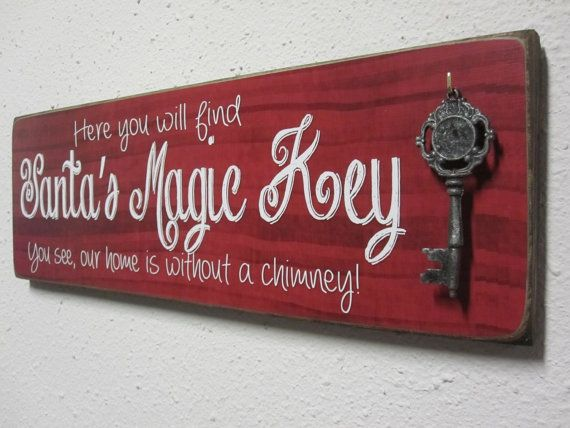 Santas Magic Key Sign by BornOnBonn on Etsy, $35.00