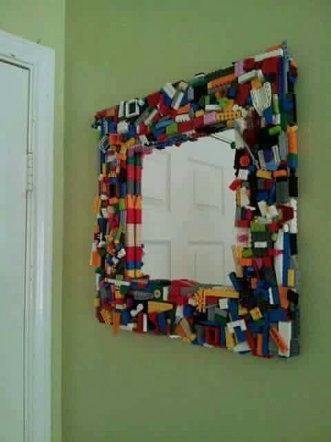 Lego pieces that you have no idea what to do with? Glue them to a picture frame!