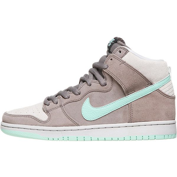 Nike SB Dunk High Pro Shoes Soft Grey/Mint ❤ liked on Polyvore featuring shoes, sneakers, trainers, mint shoes, grey trainers, nike shoes, nike trainers and nike sneakers