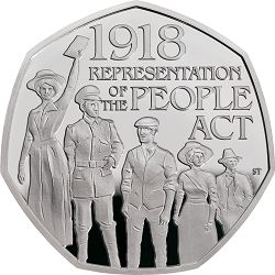 In 2018 The Royal Mint released a 50p to commemorate the 100th Anniversary of The Representation of the People Act being passed. This historic act granted the vote to servicemen over the age of 19, to all men over the age of 21, and to women over the age of 30. Although it did not grant everybody the equal right to vote, this was a momentous change and formed the foundation which led to women over 21 achieving the same voting rights as men in 1928 with the passing of the Equal Franchise Act…