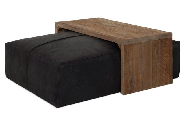 $2500; dont like the color but like the idea Aspen Leather Ottoman & Coffee Table Set