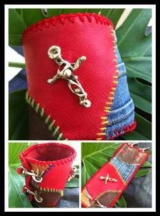 Leather and Denim Bracelet with Cross by handmadebyputu on Etsy, $88.00
