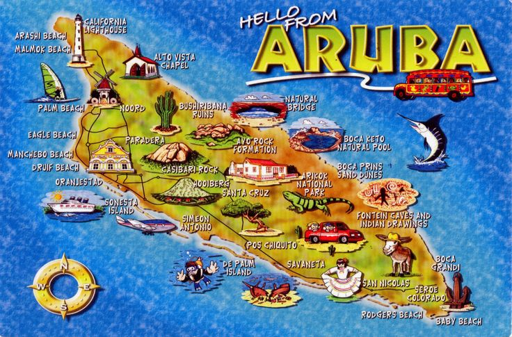 WORLD, COME TO MY HOME!: 1152-1154, 1234-1235 NETHERLANDS (Aruba) - The map of Aruba