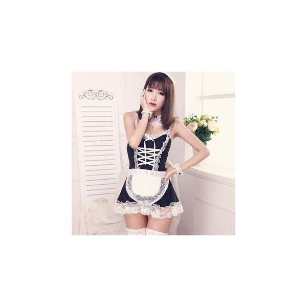Maid Lingerie Costume ($7.90) ❤ liked on Polyvore featuring costumes, innerwear, women, women's maid costume, spandex halloween costumes, maid costume, women's halloween costumes and maid halloween costume