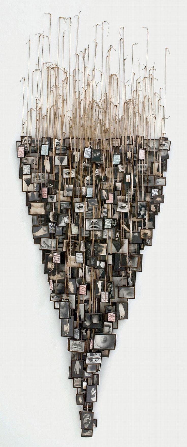 ANNETTE MESSAGER (NEE EN 1943). Mes voeux, crayons de couleurs sur papier, acrylique sur photographies noir et blanc sous verre, ficelles 312 x 114 cm. Réalisé entre 1988 et 1990.