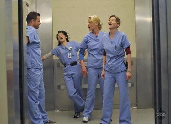 Still of Katherine Heigl, Justin Chambers, Sandra Oh and Ellen Pompeo in Greys hvide verden