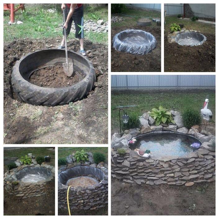 Estanque con llanta garden project pinterest for Estanque con neumatico