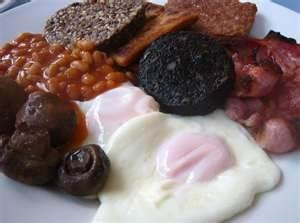 Image Detail for - Full Scottish Breakfast -- with black pudding (blood sausage)