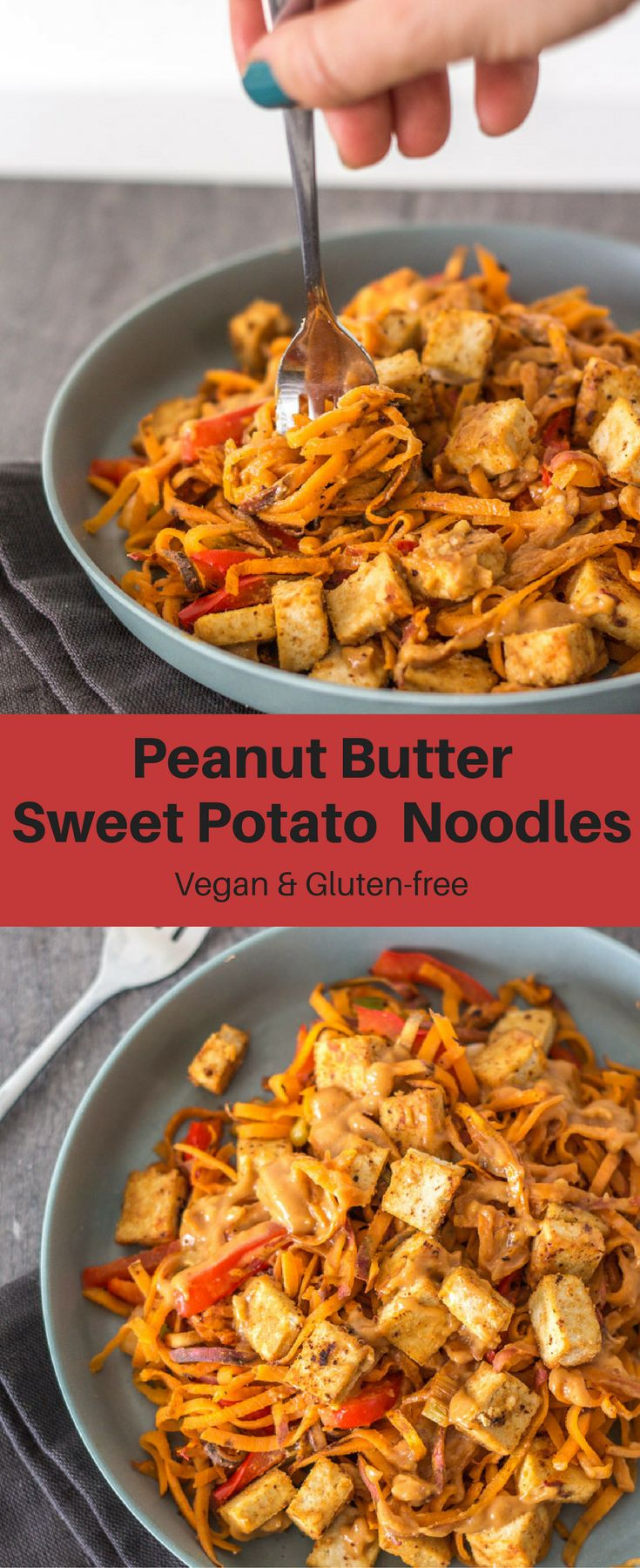 Peanut Butter Sweet Potato Noodles with red bell pepper, spring onion, tofu, and an addicting peanut butter sauce! It's creamy, delicious, and healthy!