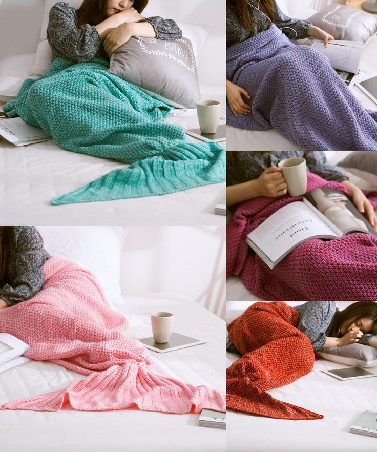 [Visit to Buy] Mermaid Tail Blanket Yarn Knitted Handmade Crochet Mermaid Blanket Kids Throw Bed Wrap Super Soft Sleeping Bed 3 Sizes  #Advertisement