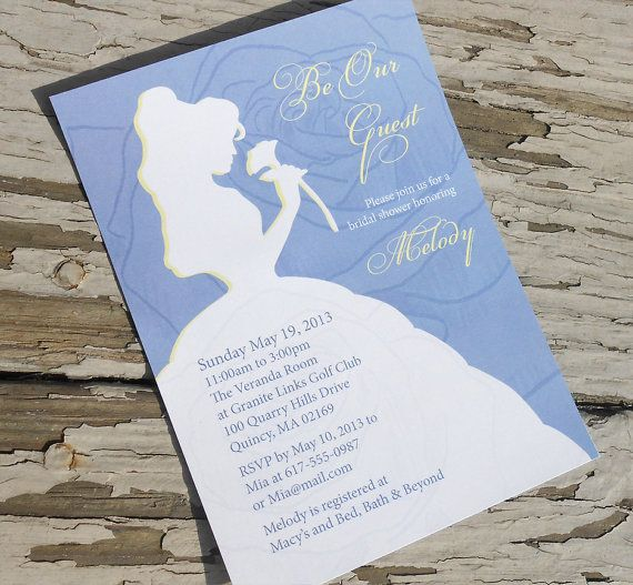 Disney Beauty and the Beast - Belle Bridal Shower Invitation - Custom Printable PDF on Etsy, £10.33