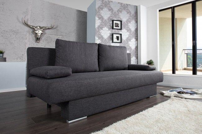Design Schlafsofa BARCLAYS anthrazit 200cm Bettkasten Gästebett-Funktion  --   Riess-Ambiente.de