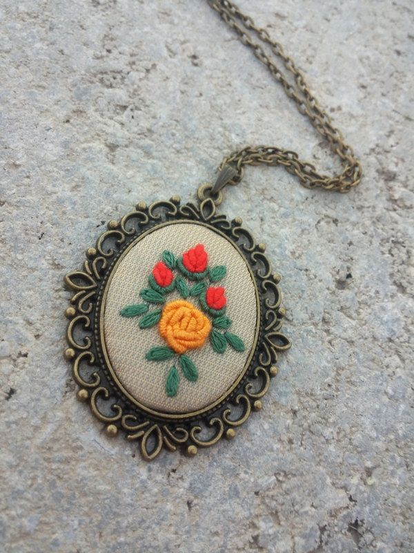 Unique Vintage Style Necklace, Flower Pendant Long Flower Necklace, Rose Jewelry by RedWorkStitches on Etsy