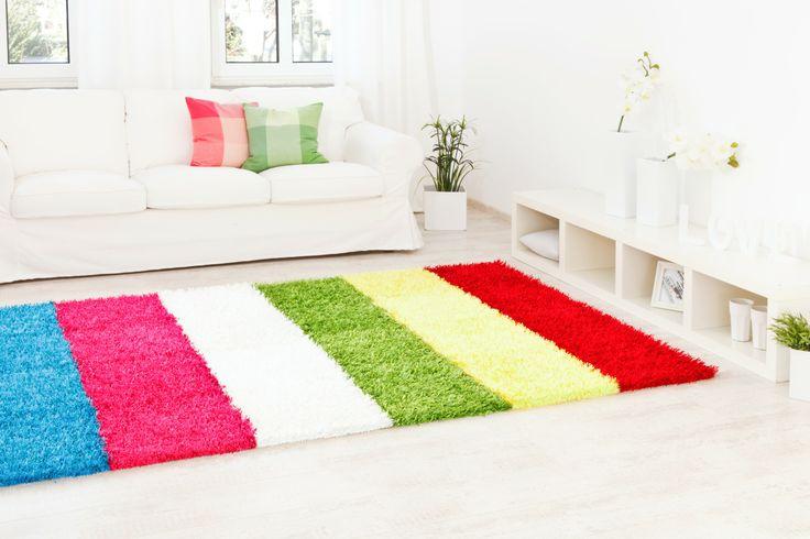 ein Quadrat aus frischen Farbstreifen  - Teppich Al Mano