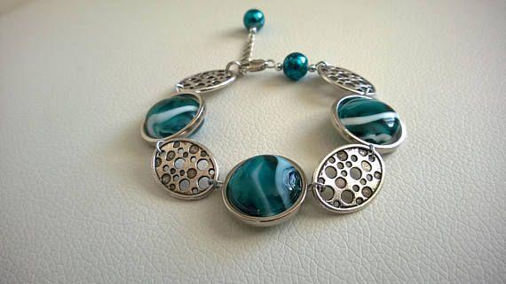 TEAL BRACELET Unique jewelry Teal jewelry Silver bracelet