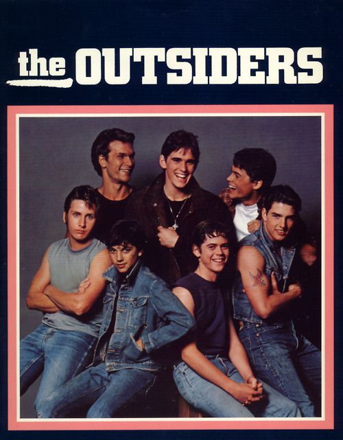 The Outsiders (1983)    Directed by Francies Ford Coppola and starring C. Thomas Howell, Matt Dillon, Ralph Macchio, Patrick Swayze, Rob Lowe, Emilio Estevez, Tom Cruise, Steve Randle and Glenn Withrow: Toms Crui, 80S, Great Movie, The Outsiders, Patrick'S Swayze, Ponies, Book, Favorite Movie, Stay Golden