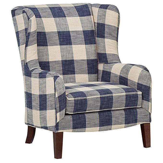 Stone Beam Sadie Buffalo Check Wingback Chair Wingback Accent