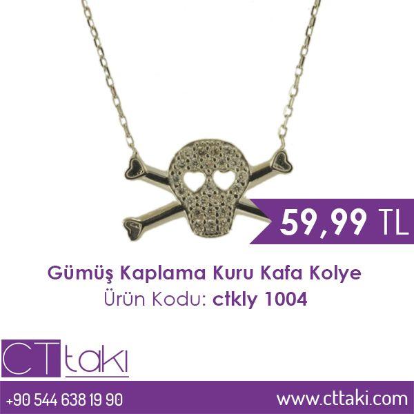 Gümüş Kaplama Kuru Kafa Kolye. 59,99 TL fiyatı ile CT Takı'da. #gümüş #kaplama #kuru #kafa #kolye #takı #fiyat #cttakı