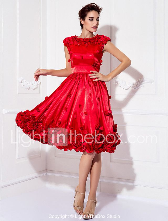TS Couture Cocktail Party Prom Company Party Family Gathering Dress - Floral A-line Jewel Knee-length Stretch Satin with Beading Flower(s) 2017 - $129.99