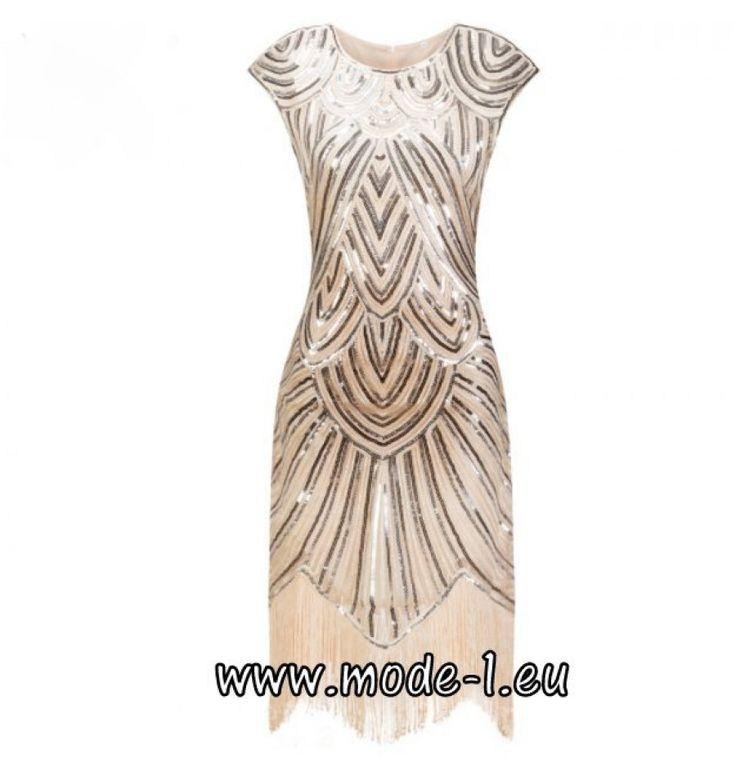 Pailletten Kleid Knielang Party Kleid in Beige