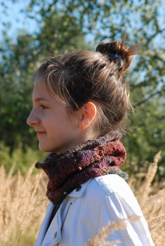 HANDAMADE. READY TO SHIP  This lightweight cowl is made of soft yarn (51% wool and 49% acrylic). The yarn is a blend of colors - green, red, purple and olive green.  Measurements: height - 22 cm [8.7] circumference - 50 cm [19.7]  Hand wash in lukewarm water (30° C).  Please take a look at my shop policies before you order: http://www.etsy.com/shop/aboutCRAFTS/policy  More scarves you can find here: http://www.etsy.com/shop/aboutCRAFTS?section_id&#...