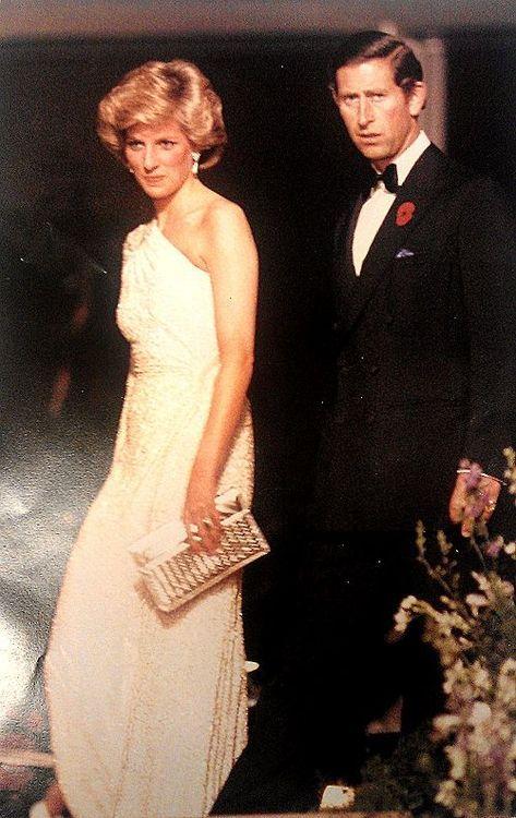 November 11, 1985: Prince Charles & Princess Diana at a gala dinner at the…