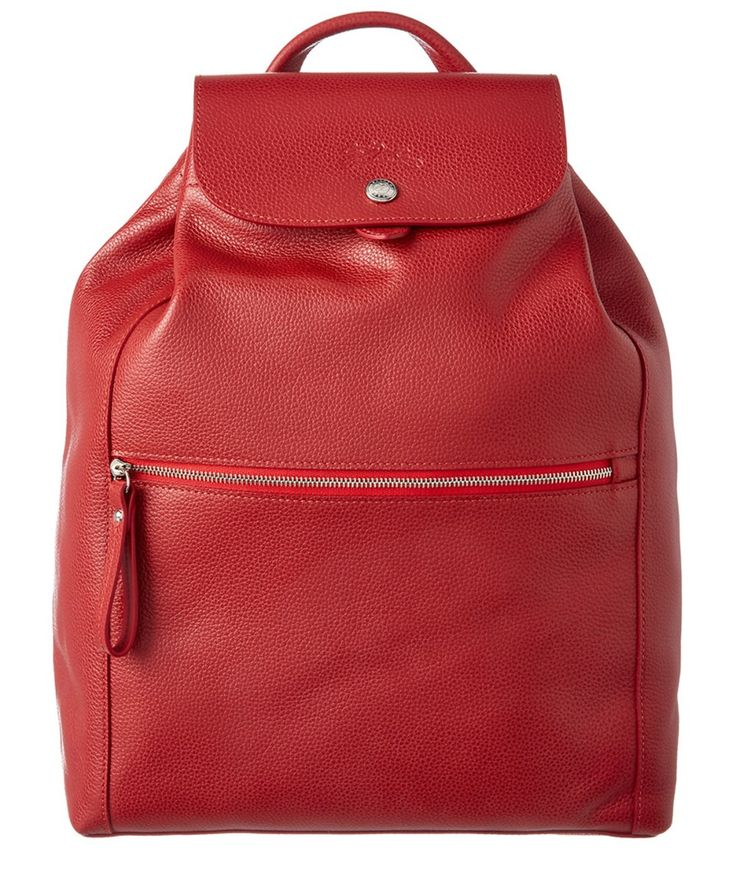 Longchamp Le Foulonne Leather Backpack\u0027, Red