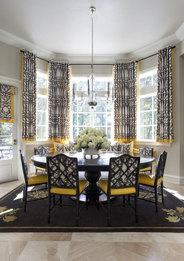Breakfast Room Pal Smiths Antoinette Rug Anchors The Table Extending Black And Yellow Theme Schumachers Statement Fabric Chenonceau