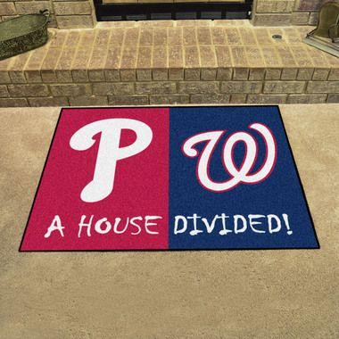 "Philadelphia Phillies - Washington Nationals House Divided All Star Area Rug Floor Mat 34"""" x 45"""""