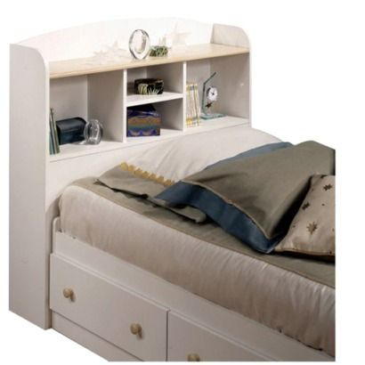 Bookcase Headboard - White/ Natural Maple (Twin).Opens in a new window