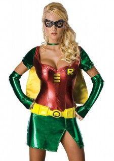 Een sexy superhelden Robin pakje! Robin is een fictieve superheld uit de strips van DC Comics. Zij is vooral bekend als de sidekick van Batman; waar Batman gebaseerd is op de vleermuis is Robin gebaseerd op de roodborstlijster. Het Robin kostuum bestaat uit het oogmasker met elastiek, de gele cape met groene halsband, het Robin jurkje, de groene vingerloze handschoenen en de gele rubber riem met stoffe achterzijde.    Set bestaat uit: - Oogmasker - Cape - Robin Jurkje - Handschoenen - Riem