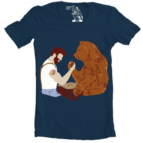 Bear Arm Wrestling T-shirt - Man Cave Ideas  - 1