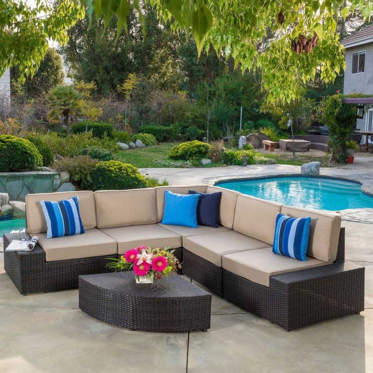New Patio Furniture Clearance Outdoor Brown Wicker Sofa Set Poolside Deck  Garden Part 98