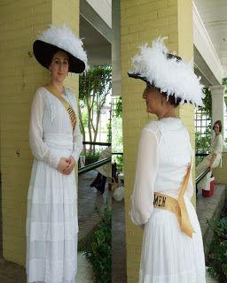 Suffragette costume dress: White & Sash