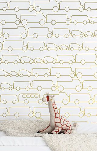 """Planning a transportation theme for the nursery? This chic and modern Jam wallpaper is the perfect accent for any nursery or playroom. Each roll has a 27"""" x 36"""" repeat and in a straight-across pattern"""