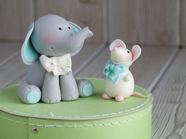 Tutorial paso a paso para realizar un tierno modelado tarta bebé, un ratoncito y un elefante que decorarán cualquier tarta o cupcake con un toque entrañable