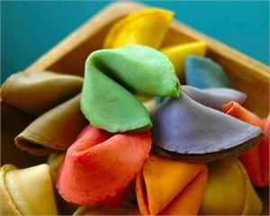 I love these rainbow-themed fortune cookies with personalized fortunes. Perfect for wedding showers or reception fun!
