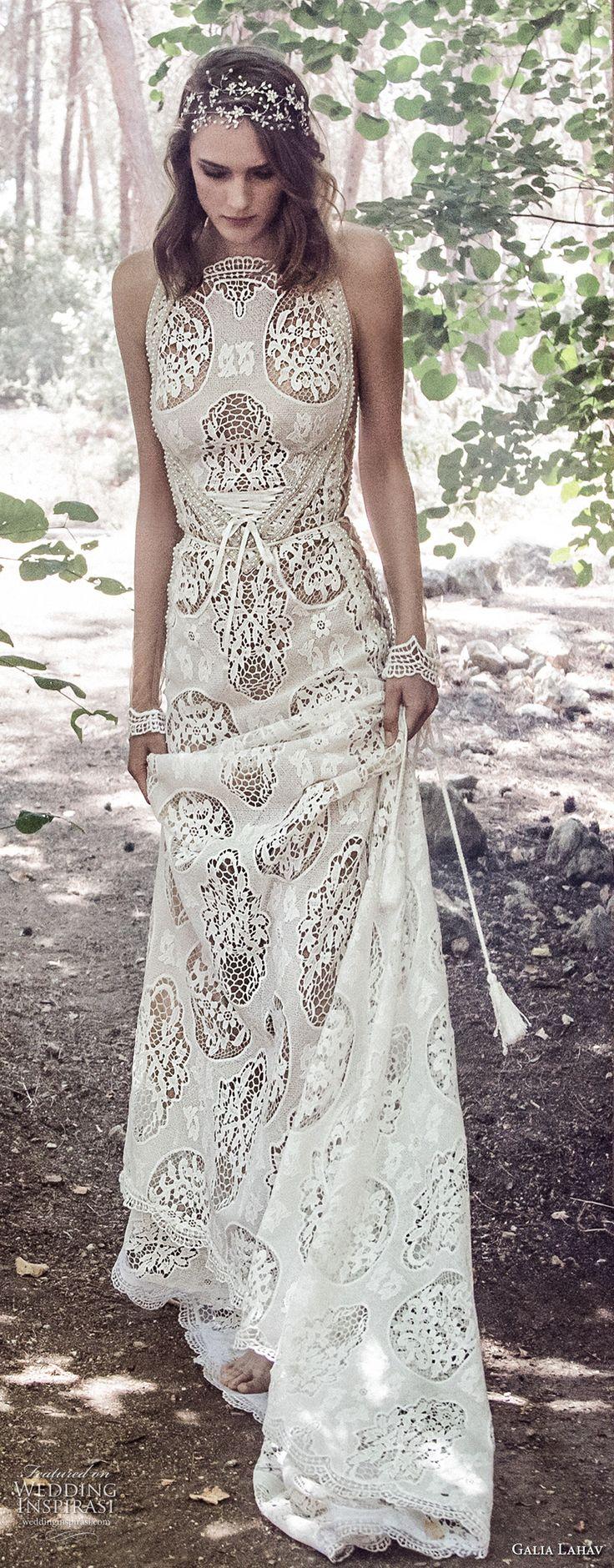 galia lahav gala 4 2018 bridal sleeveless halter neck full embellishment elegant bohemian soft a line wedding dress mid strap back short train (905) mv -- Gala by Galia Lahav 2018 Wedding Dresses