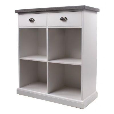 Byrå hugo enkel med 2 lådor - Vit/cementtopp