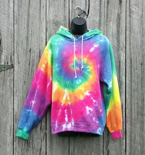 Tie Dye Hoodie Adult Size Medium Rainbow Spiral Tie by TieDyeSkys
