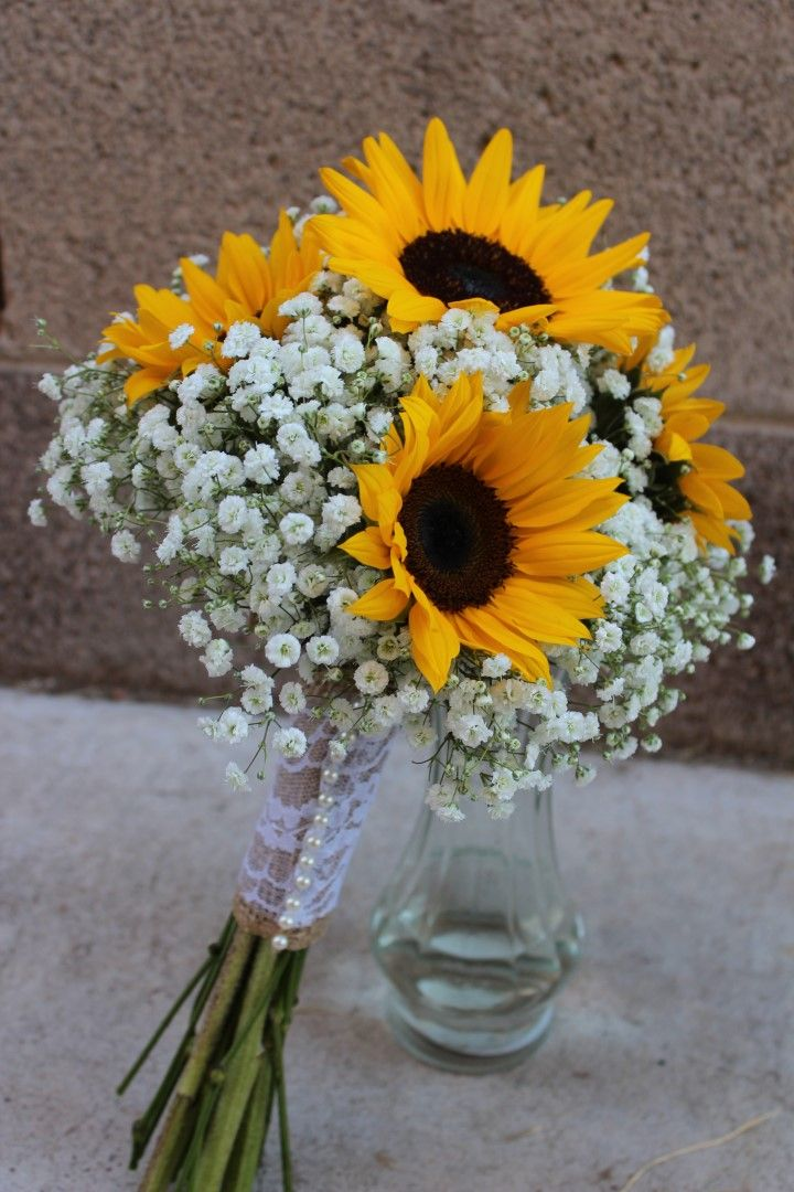 Rustic Vintage Shabby Chic Bridal Bouquet Of Sunflowers
