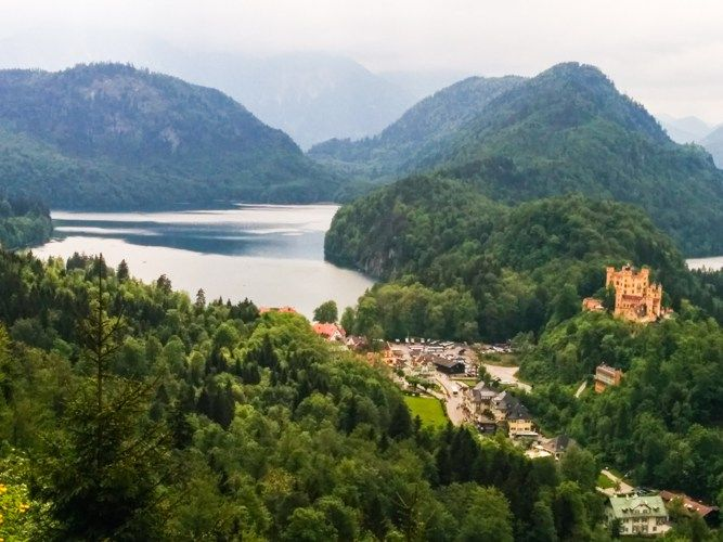 View over Hohenschwangau castle and the beautiful lake, Bavaria, Germany