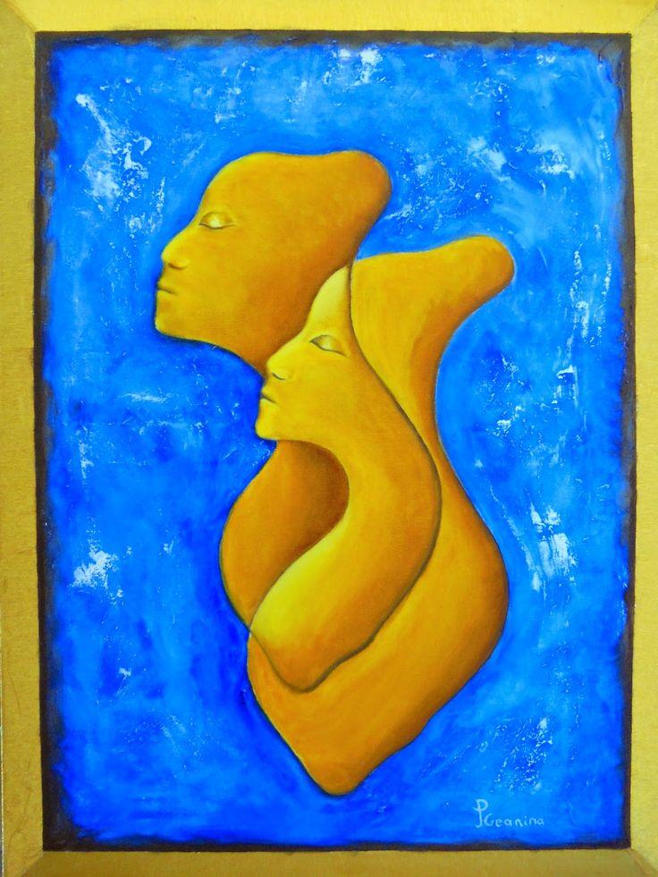 PrisecariuGeaninaArt: We as One 80x60 original creation. oil and golden ...