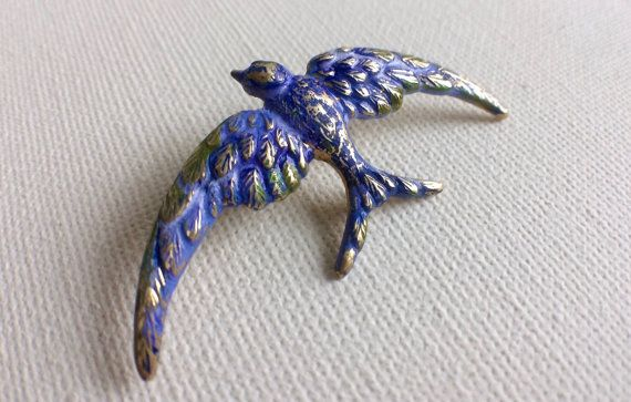 Blue Bird Brooch Bird Pin Bird Brooch Sparrow by PERCIVALandHUDSON