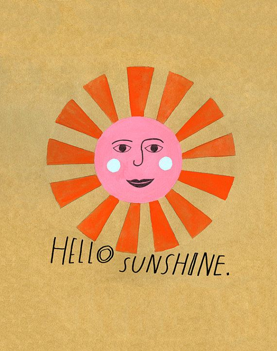 Archival print of hand lettered and illustrated painting of a vintage inspired sunshine face.    11x14 inches with small white border.    Full color,