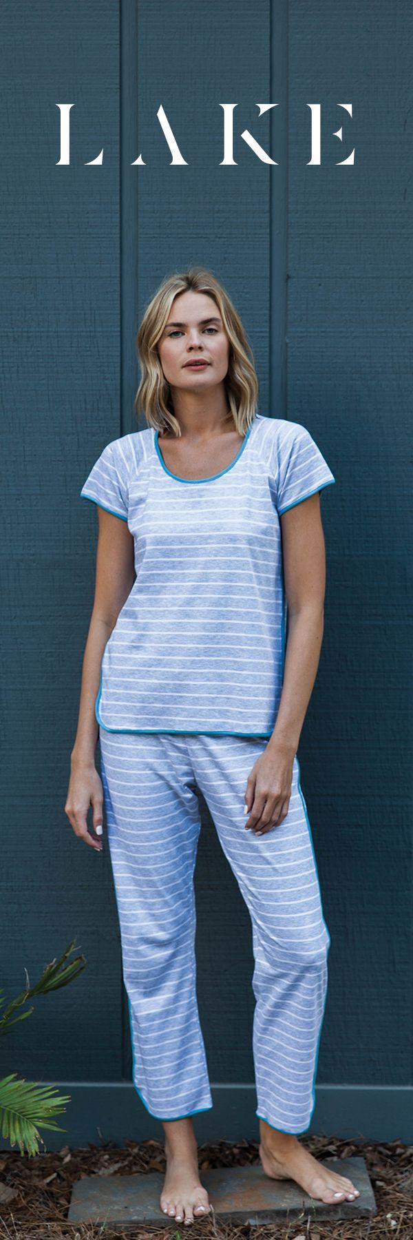 The short long LAKE pajama set in Haze.