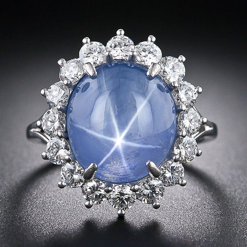 11.50 Carat Blue Star Sapphire and Diamond Estate Ring - 30-1-5049 - Lang Antiques