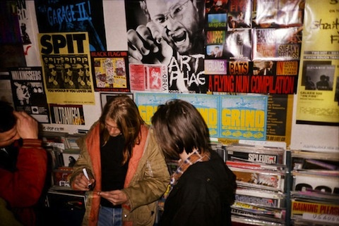 Kurt Cobain offering an autograph at Rough Trade record store